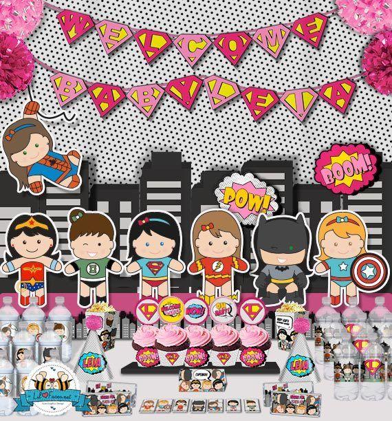 Girls Superhero Baby Shower Invitation   Baby Superhero