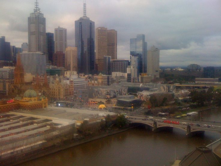 #AIDS2014, Melbourne. Red sign over Yarra River. View from Hotel on South Bank. Photo by Tamara Desiatov
