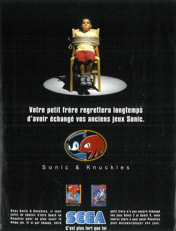 "Sonic & Knuckles for Mega Drive (France, Sega, October 1994) - ""Your little brother will regret the day he sold your old Sonic games."""
