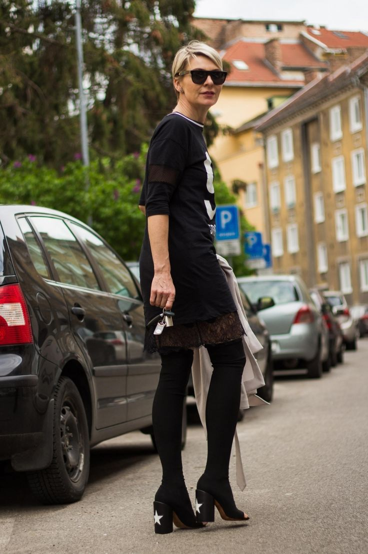 Givenchy Edgy Star over-the-knee peep-toe boots I Topshop Stockholm tee dress I Haute Hippie black slip I Warehouse Longline Belted Trench Coat I #point41 #streetstyle