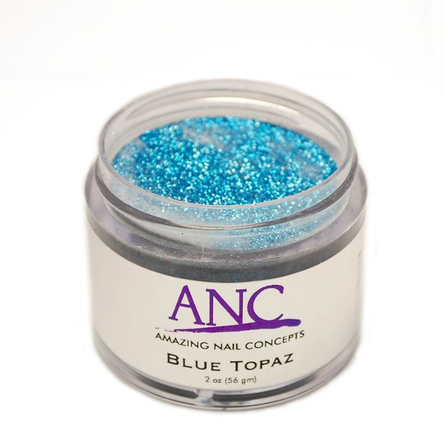 ANC 39 DIP Powder System Blue Topaz Glitter #39 2oz. ANC Powder - Beautiful, natural look, healthy for your clients, safe for your environment. -Odorless -Gentle for your nail bed -Light Weight -Flexible -Natural Environmentally Friendly -Durable Glossy Finish -Healthy for your natural nails by adding Calcium and Vitamin E.