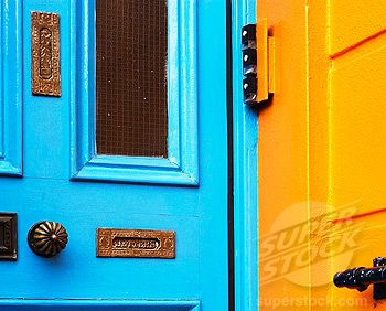 Stock Photo #1566-0165104, Orange and blue house in Notting Hill. London. England