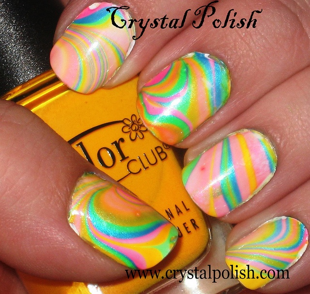 63 best neon water marble nails images on pinterest water marble neon water marble nail art solutioingenieria Gallery