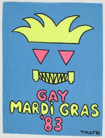 This t-shirt from 1983 is on display in the Amaze Gallery at the State Library of New South Wales. From: Selection of official Mardi Gras t-shirts from Sydney Gay and Lesbian Mardi Gras, 1983–1991 MLMSS 5977 / Box 30. http://www.acmssearch.sl.nsw.gov.au/search/itemDetailPaged.cgi?itemID=35432&dcl=519986
