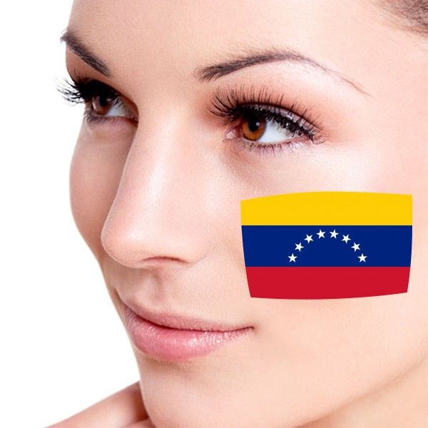Look! My DIY : Flag of Venezuela facial tattoo , free shipping 2016 | diythinker.com