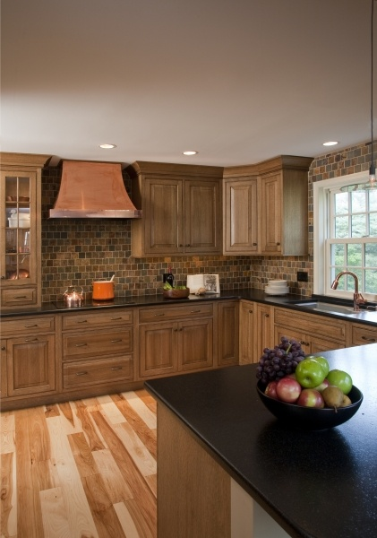 Quarter Sawn White Oak Inset Cabinets And Hickory Hardwood Flooring Natural Finish