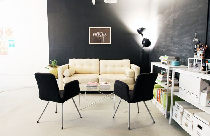 white on black - Jessica Sutton Graphic Design's office in Boston via @The EverygirlJessica Sutton, Leather Couch, Officestudio Design, Offices Area, Graphics Design, Design Blog, Chalkboards Wall, Black Wall, Design Offices