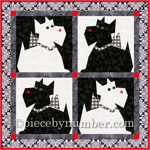 Quilt Pattern For Scottie Dog : Scottie Dog quilt block pattern, paper pieced quilt patterns, instant download PDF pattern ...