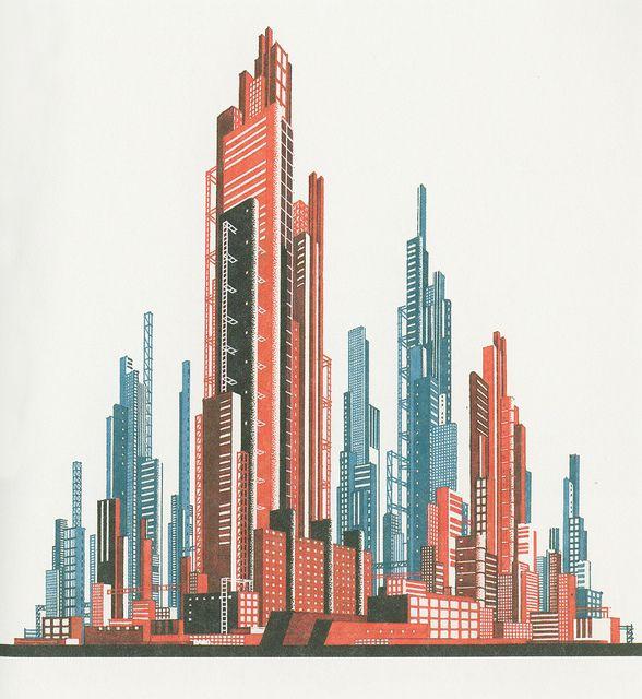 "Soviet avant-gardist Iakov Chernikhov's hyperfuturistic ""Architectural Fantasy № 20,"" 1929  http://rosswolfe.wordpress.com/2013/07/16/the-speculative-constructivism-of-iakov-chernikhovs-early-architectural-experiments-1925-1932/["