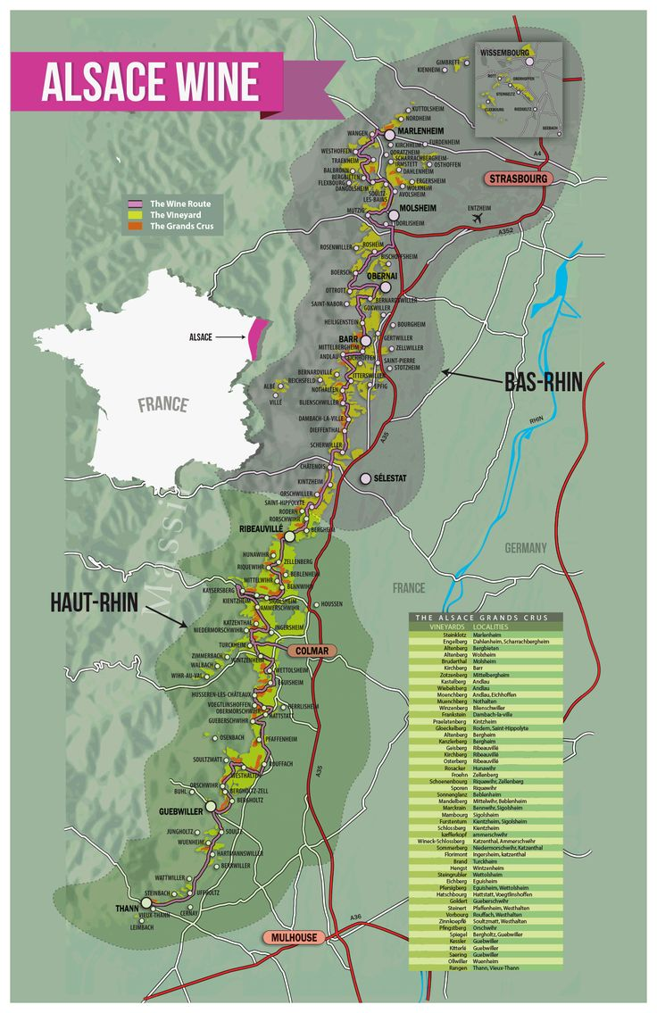 Alsace is broken up by AOC law (aka Appellation d'Origine Contrôlée). These laws dictate everything from grape variety allowed to vineyard density (ie how far apart vines are from one another). So to understand Alsace, it helps to understand the 3 major AOCs  Alsace AOC (92% white still wines) Crémant d'Alsace AOC (Sparkling white and rosé wines) Alsace Grand Cru AOC (Limited special vineyard wines)