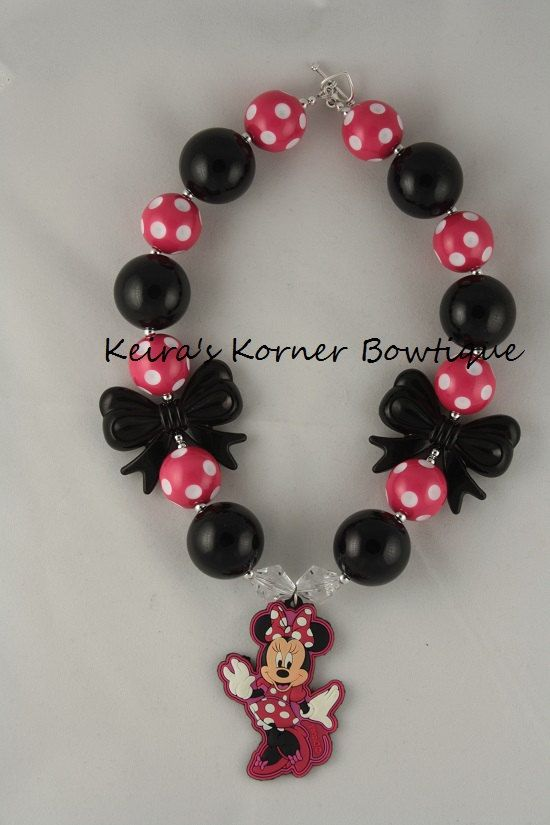 Minnie Mouse Inspired Chunky Necklace by Keiraskornerbowtique, $21.00