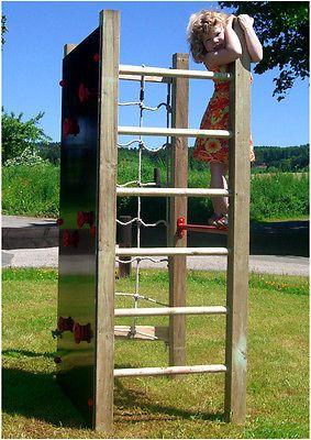 Marvelous Details zu Kletterturm mit Kletternetz Kletterwand Reckstange u Leiter Spielturm Holz Multi