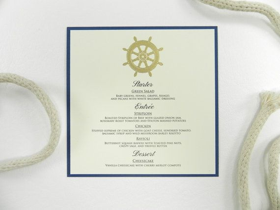Nautical Gold Wheel Wedding Dinner Menu by WhiteGownInvitations, $1.75