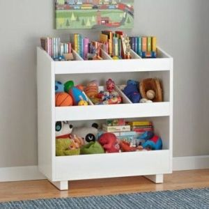 Repurposed old changing table for storage