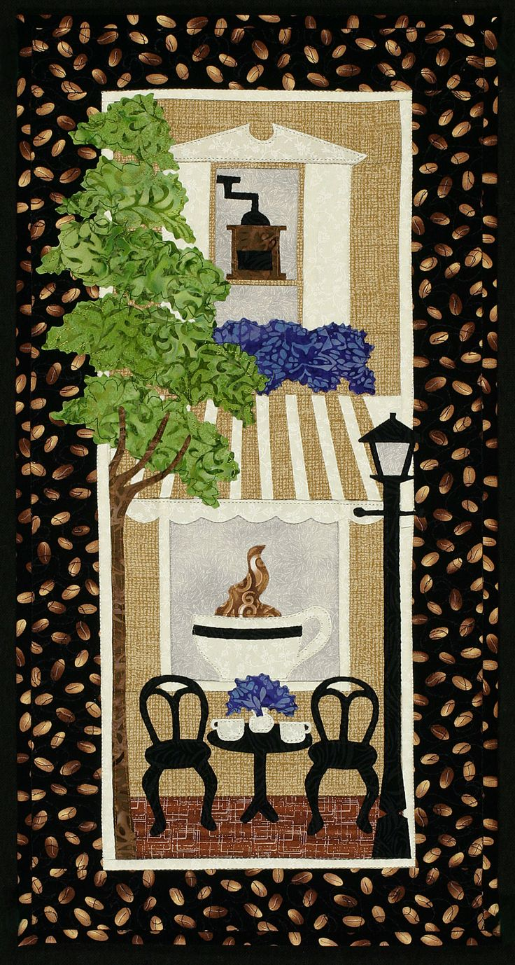 "Coffee Cup Cafe, 10 x 22"",  wall hanging applique pattern at Sweet Season Quilts:"