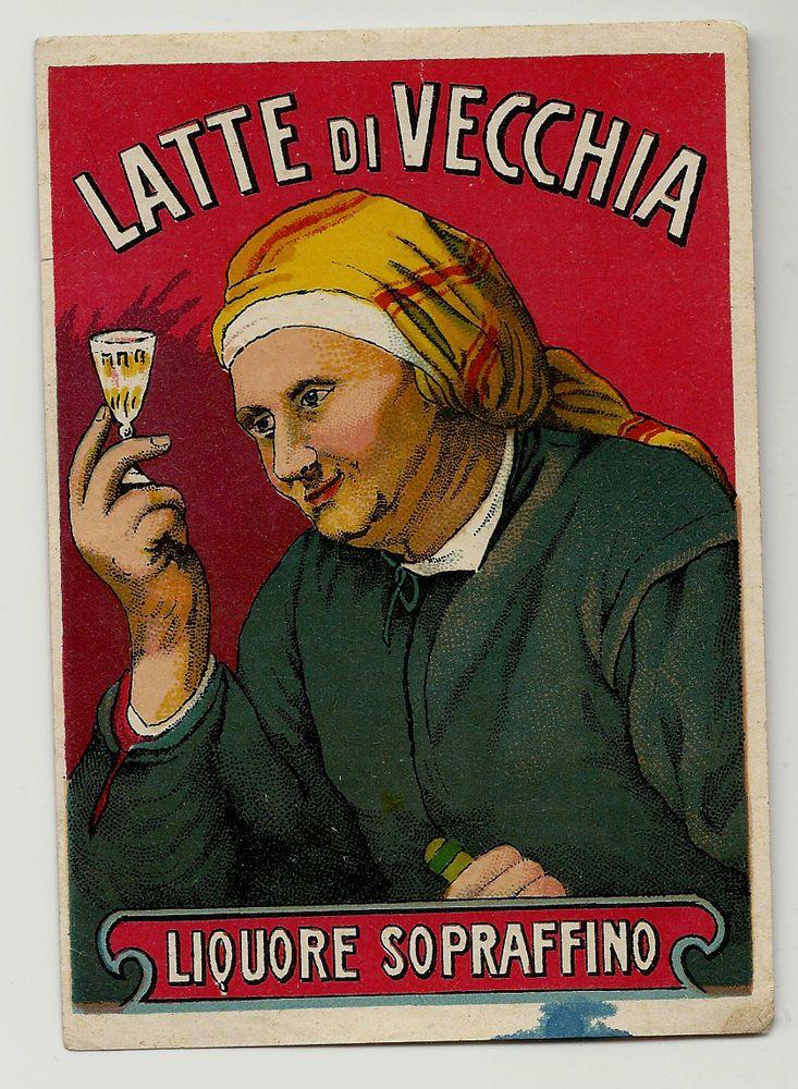 Liguore Latte di Vecchia Antica Pubblicita in litografia primi anni del 1900