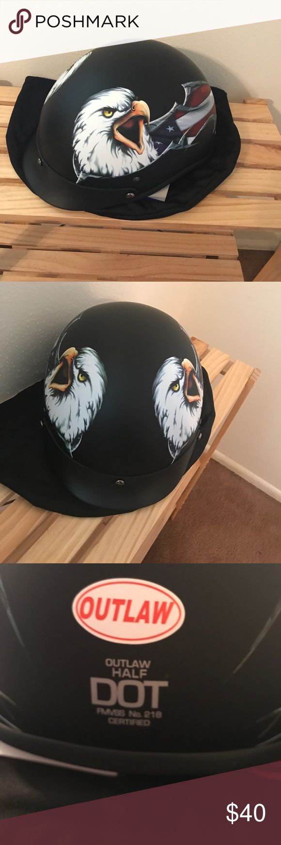 Men's motorcycle half helmet New never used DOT approved men's large motorcycle half helmet. Flat black with eagle And American flag. Outlaw is the brand name. Bought for a Father's Day and didn't fit. Excellent condition no rips, tears, scratches. Has bag but no box. Outlaw Other