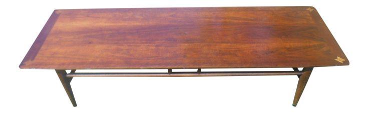 1960s Vintage Lane Walnut Surfboard Coffee Table on Chairish.com