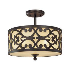 "Iron oxide semi-flush mount with etched cream glass shade and scrollwork detail.  Product: Semi-flush mountConstruction Material: Metal and glassColor: Iron oxide and creamAccommodates: (3) 60 Watt medium base incandescent bulbs - not includedDimensions: 12"" H x 14"" Diameter"