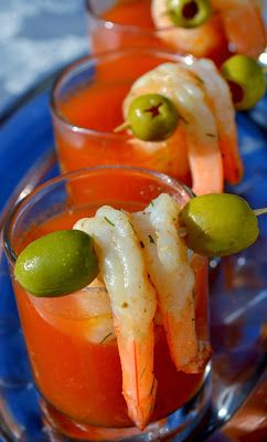 Spicy Bloody Mary Shrimp Shots