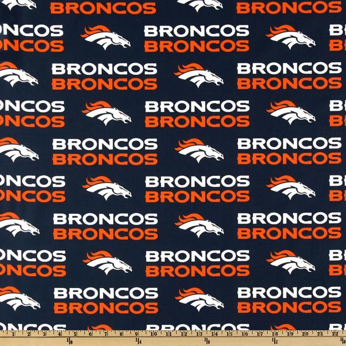 Cheer for the Denver Broncos, your favorite NFL team, with this cotton broadcloth fabric. Fabric features an allover print with the Denver Broncos logo and script and is perfect for quilts, pillows and shirts.