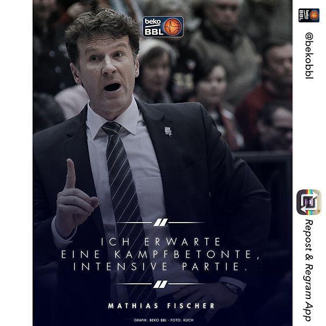 Klare Ansage von Coach Fischer. Tipoff vs. @cr_merlins ist um 20:30 Uhr. (Grafik: @bekobbl)  #BasketsSpirit by telekombaskets