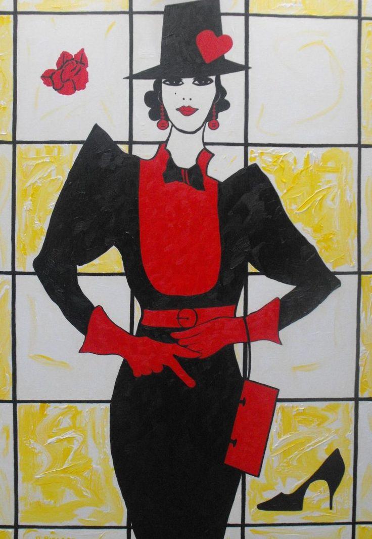 Ode aan mode ontwerpster Fong Leng, schilderij van Nelly Biessen | Abstract | Modern | Kunst