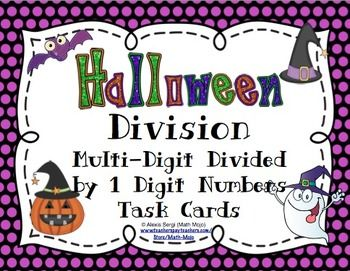Halloween Math Division Task Cards - These are perfect for a center, Scoot Game or whole class review. Bonus game show template is included! $1
