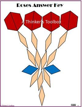 """Pattern Blocks Valentines Puzzles by A Thinker's Toolbox includes 5 Valentine's Puzzles; roses, cupid's arrow, candy, Be Mine heart, and the word """"Love""""."""