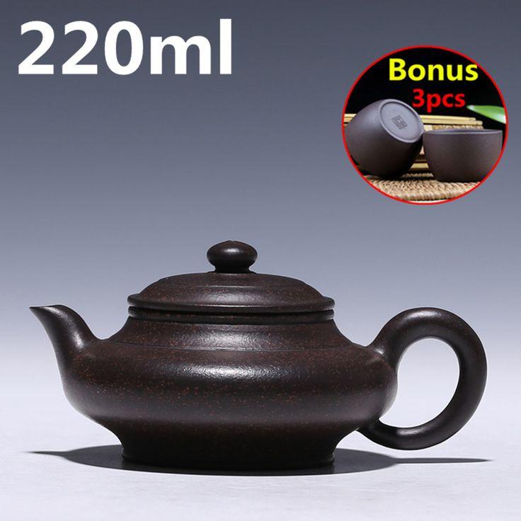 Chinese Teapots Ceramic Yixing Teapot Set Handmade Porcelain ZiSha Tea Pot Purple Clay Teapots Bonus 3 Tea Cups Gift Box