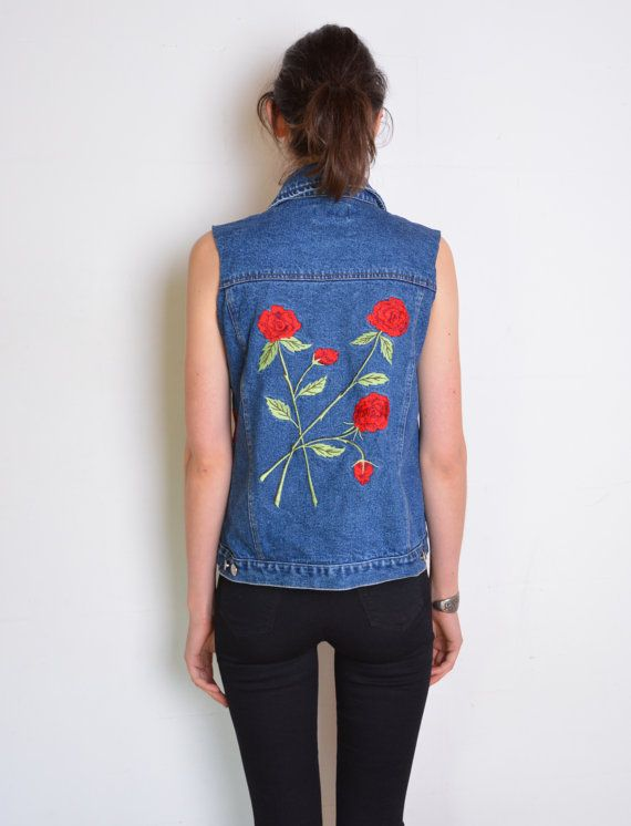 90's embroidered roses denim vest dark blue by WoodhouseStudios