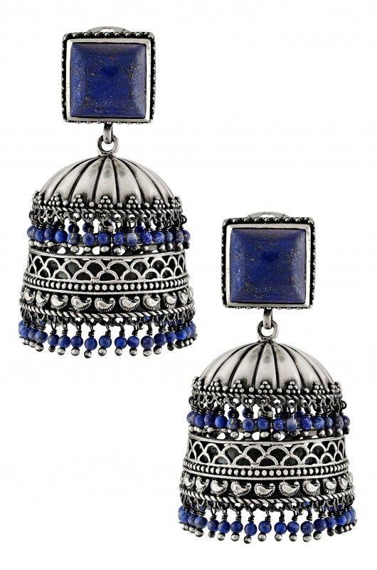 Silver Oxidised Lapis Square Jaali Rawa Detachable Jhumka