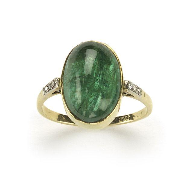 Art Deco Emerald dress ring 1930's