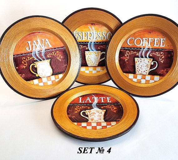 Coffee decor coffee plates set coffee kitchen by PaperPlateArt