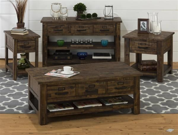 Cannon Valley Transitional Solid Wood Coffee Table Set