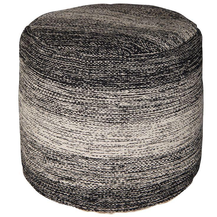 Pouf en tissu chiné noir et gris ...