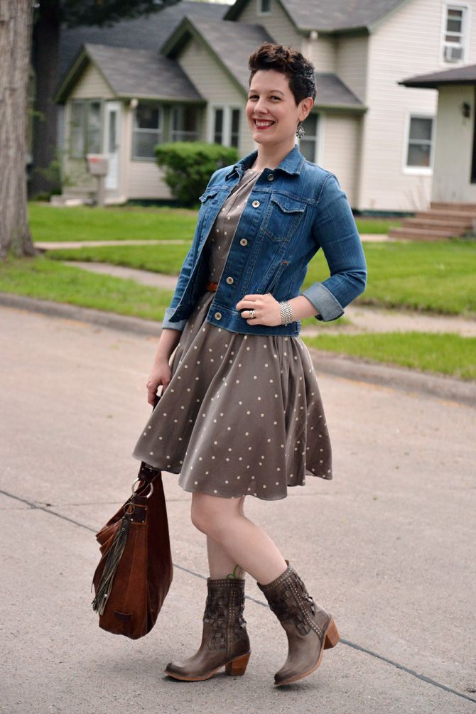 Already Pretty outfit featuring brown polka dot dress, Frye Carmen Woven boots, denim jacket, Ellington hobo