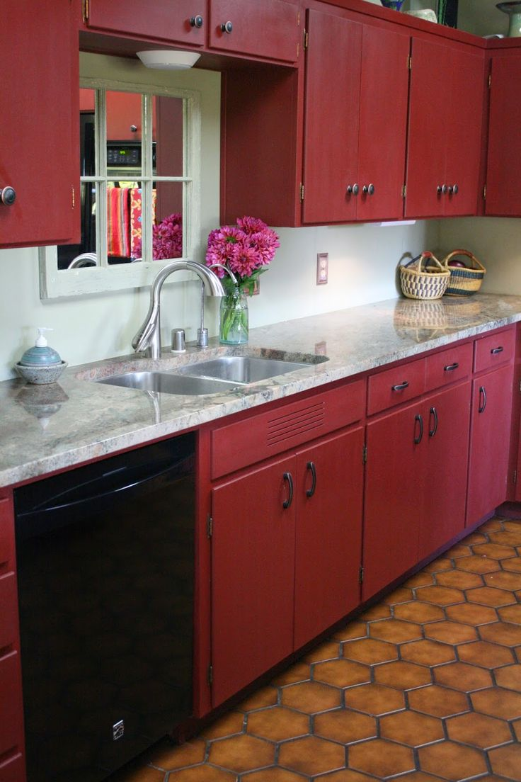 Reloved Rubbish Primer Red Chalk Paint Kitchen Cabinets Paired With Pale  Yellow Walls And White Subway Tile