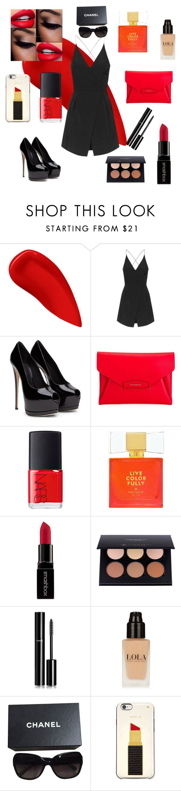 """Fancy red style "" by horsiebigroller ❤ liked on Polyvore featuring Lipstick Queen, Topshop, Givenchy, NARS Cosmetics, Kate Spade, Smashbox, Chanel, women's clothing, women and female"
