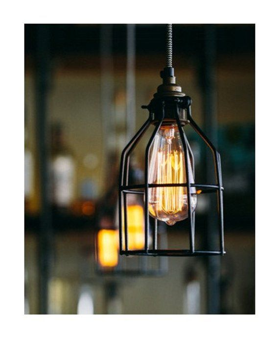 Industrial Pendant Light Hanging Edison Bulb With Cage Ceiling Lighting Hardwired Or Plug In Industrial Lighting Edison Bar Lighting In 2020 Industrial Pendant Lights Custom Pendant Light Industrial Pendant Lamps