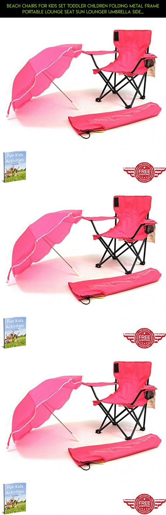 Beach lounge chair side view - Beach Chairs For Kids Set Toddler Children Folding Metal Frame Portable Lounge Seat Sun Lounger Umbrella