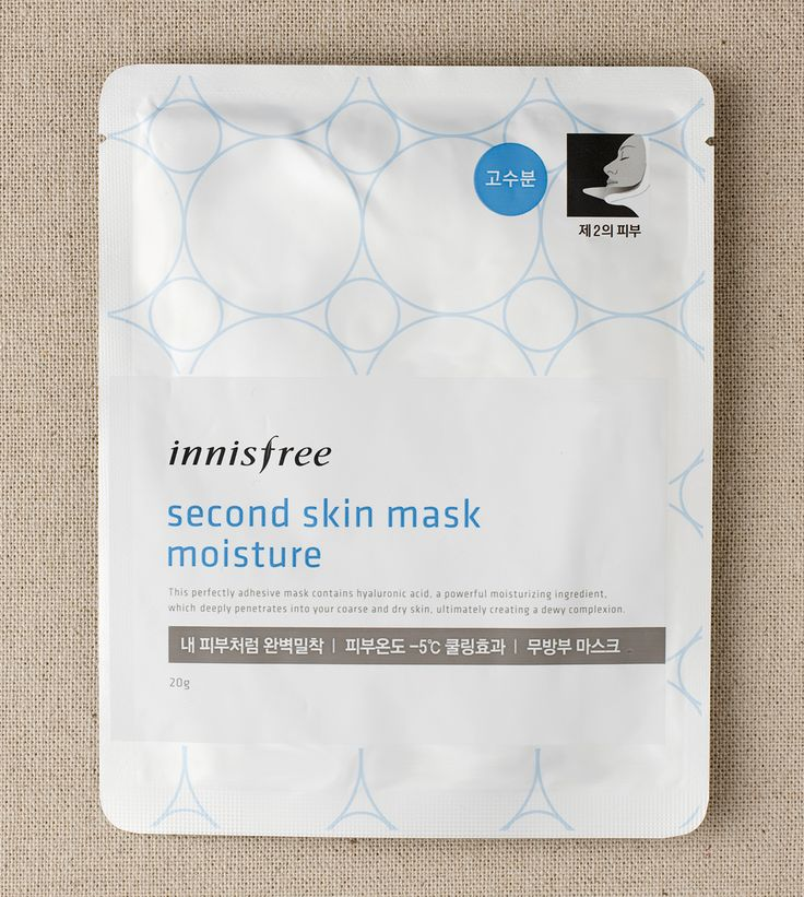 Second skin mask moisture ::A perfect fitting mask with hyaluronic acid to provide intense moisture to dry skin. #innisfree #innisfreeworld #mask #sheetmask