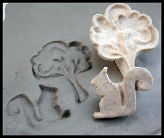 Handcarved  bisque stamp Tree and Squirrle for by MoldingU on Etsy
