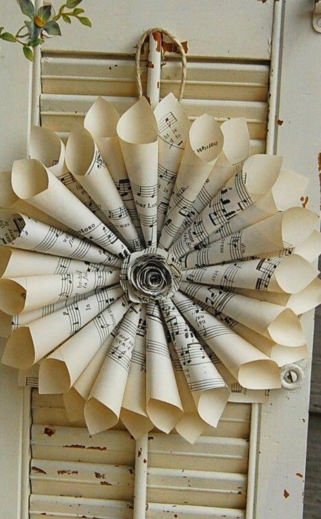Spartiti musicali corona Vintage Hymnal con Rose di roseflower48