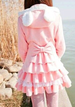 That outfit looks so cozy and kawaii - pastel pink