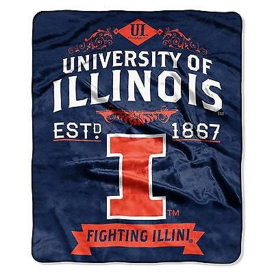 "ILLINOIS FIGHTING ILLINI EST. 1867 50""X60"" PLUSH RASCHEL THROW BLANKET NEW"