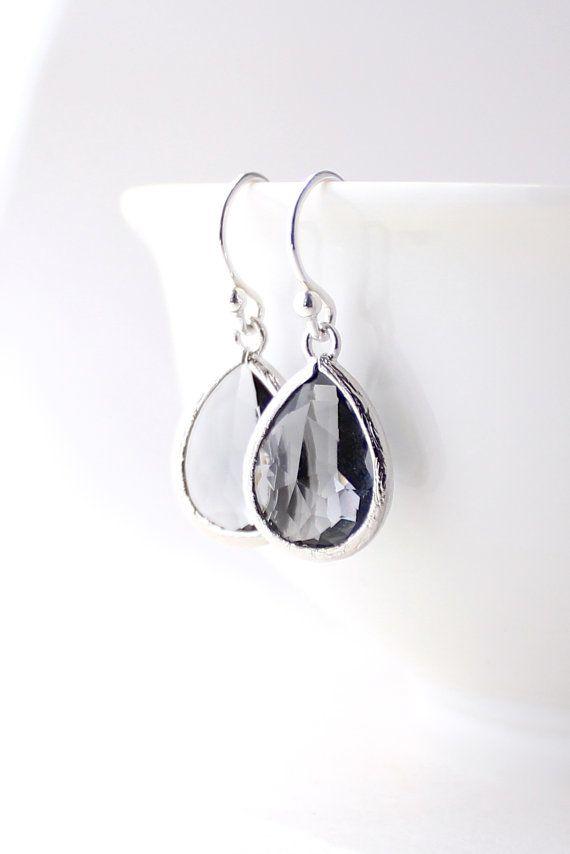 Charcoal Gray / Silver Teardrop Earrings