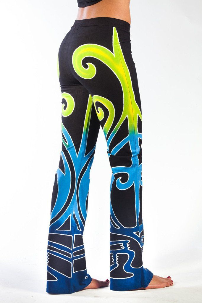 Dynamic hand batiked womens yoga dance pants. In classic cotton/lycra. Hand-batiked Watervine print with our original artwork. These pants are a unisex cut, and great for dance and yoga. by Phoenix Ri