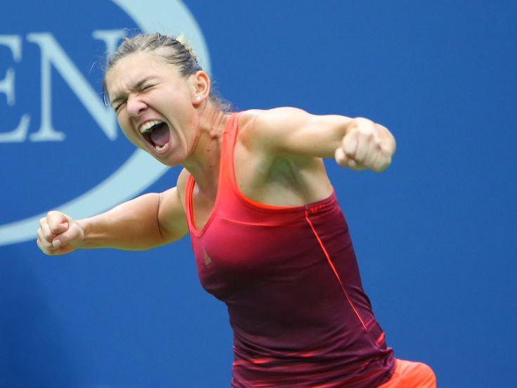 Simona Halep of Romania celebrates after defeating Victoria Azarenka of Belarus on Day 10 of the U.S. Open.  Jerry Lai, Jerry Lai-USA TODAY Sports
