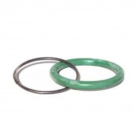 Blue Green Beech Bracelet - handcrafted Danish design. Kirsten Bak has created two infinite loops, one in blue green lacquered beech wood and one in Fair Trade sterling silver, and linked them together forever. Two bangle bracelets interlock to create a minimalist and beautiful symbol for eternity. This bracelet is understated and beautiful, a perfect gift for a woman you can't imagine your life without. It's perfect for casual and formal occasions, alike.